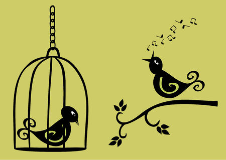 song bird: singing bird on branch and sad bird in a cage