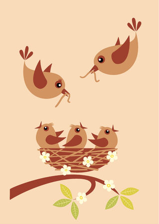 animal nest: Cute little birds in a nest and their parents with worms