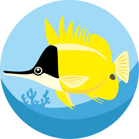 butterflyfish: Vector illustration of Longnose Butterfly fish