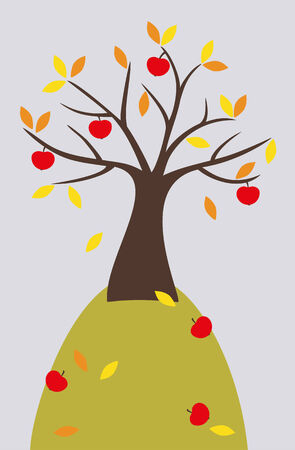 hillock: Manzano Con las frutas maduras y hojas de color