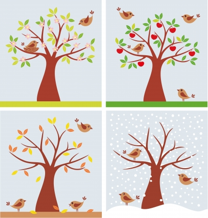 illustration of tree and cute birds in four seasons. Illustration
