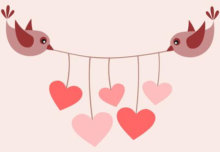 Birds with Valentine or wedding garland. Illustration