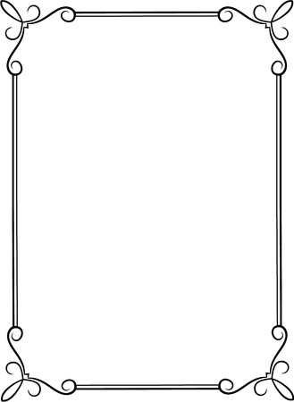 simple border: Simple black frame with decorative corners  Illustration