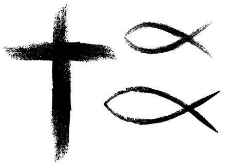 grunge cross: Cross and fish, illustration of Christianity symbols