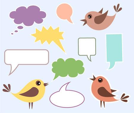 twit: Cute birds with speech bubbles Illustration