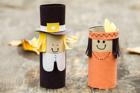 indian thanksgiving: DIY decorations for Thanksgiving day. Stock Photo