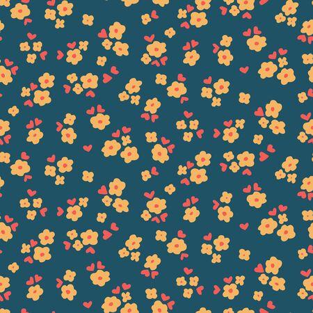 petites fleurs: Fleurs et coeurs - modèle vectoriel sans soudure