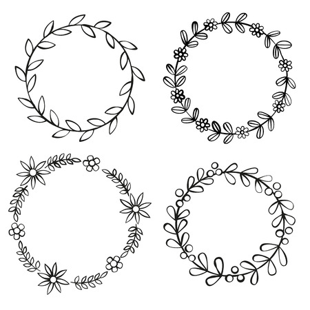 circle design: Floral black frames on white background.