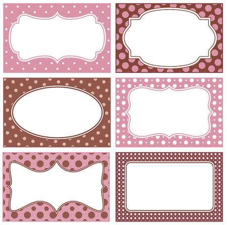 cornici bianche con sfondo di polka dot
