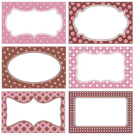 White frames with polka dot background