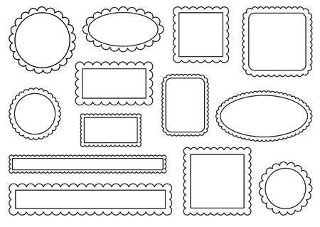 Collection of scalloped frames Stock Illustratie
