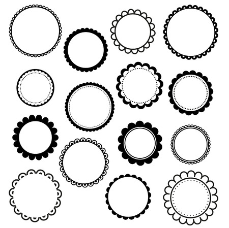 circle flower: Set of round scalloped frames