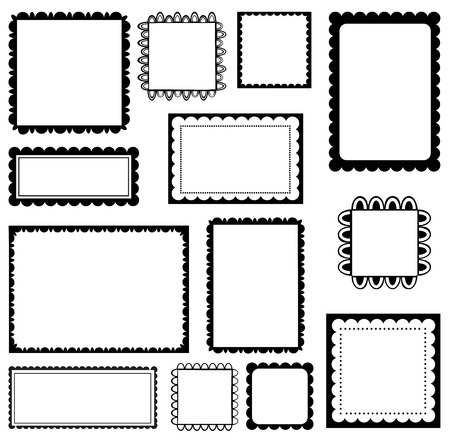 simple border: Set of scalloped frames
