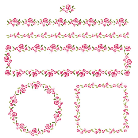 scalloped: Set of delicate pattern brushes and frames Illustration