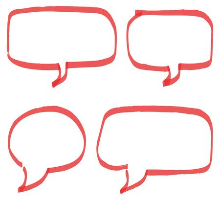 bubble speech: Set of red hand drawn speech bubbles