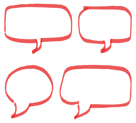 Set of red hand drawn speech bubbles