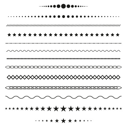 white star line: Collection of vector dividers Illustration