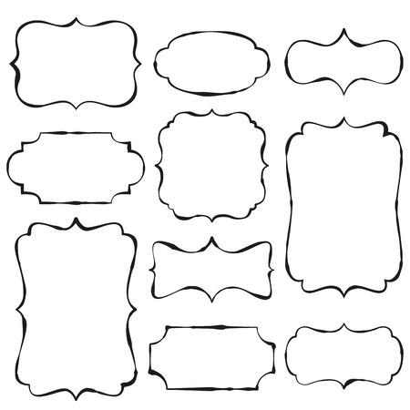 Vintage doodle frames with copy space  イラスト・ベクター素材