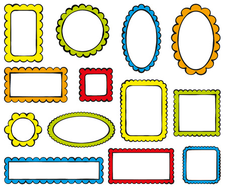 Collection of color scalloped frames