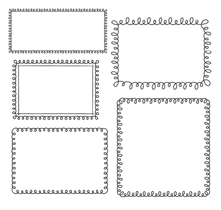 square frame: Set of doodle loop frames