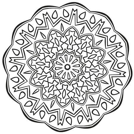 contorno: Mandala negro esboza en el fondo blanco Vectores