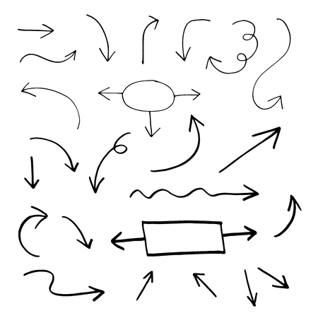 Set van de hand getekende vector pijlen