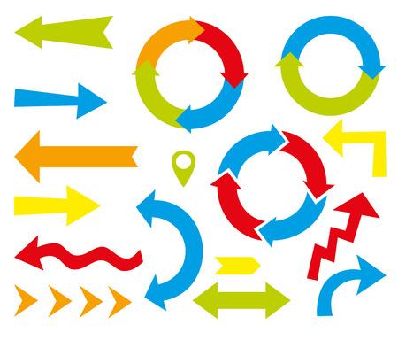 arrow icon: Set of vector color arrows Illustration