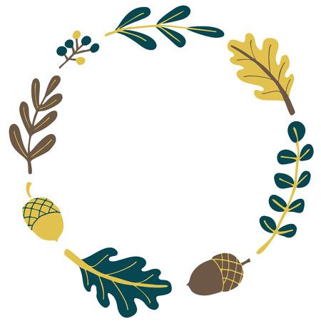 oak wreath: Autumn wreath with copy space