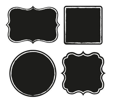거친 테두리가 검은 색 레이블 집합 일러스트