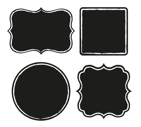 simple background: Set of black labels with rough border