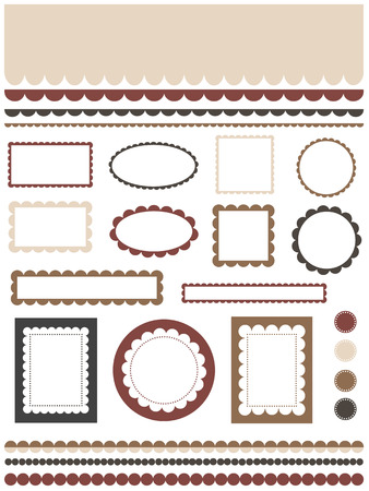 scalloped: Set of scalloped design elements Illustration