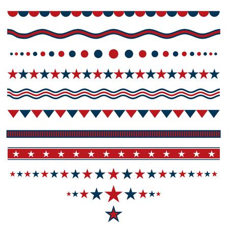 Divisori rosso e blu per i disegni patriottici Vettoriali