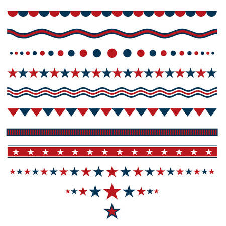 white star line: Red and blue dividers for patriotic designs