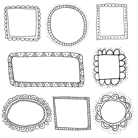 scalloped: Collection of hand drawn vector frames