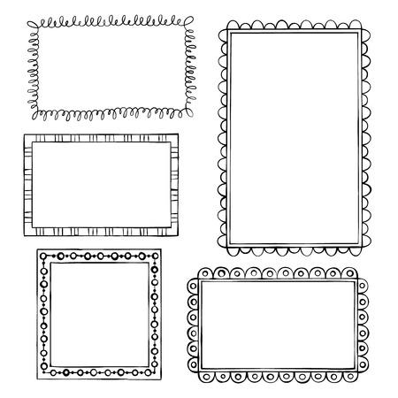 marcos decorativos: Conjunto de bastidores del doodle en el fondo blanco