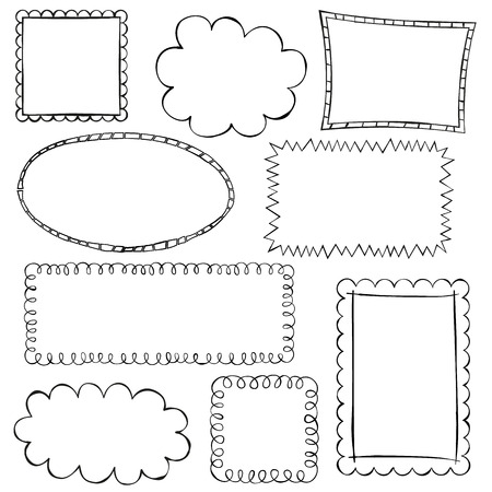 Black doodle frames on white background