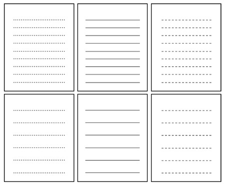 dashed line: Collection of lined notebook pages Illustration
