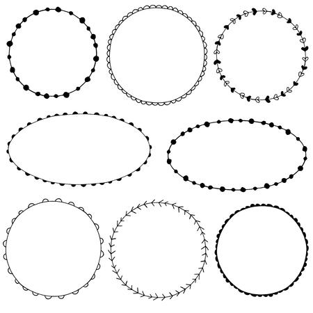 Colección de cuadros del doodle simples Ilustración de vector