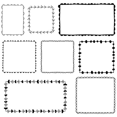 Collection of hand drawn frames Vectores