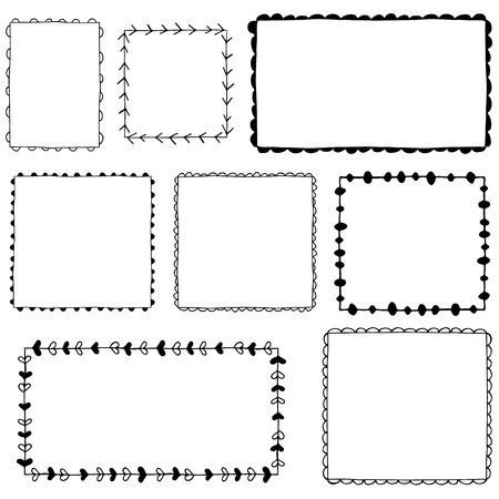 noix saint jacques: Collection de cadres dessinés à la main