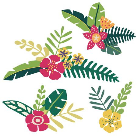 flower bunch: Bunches of tropical flowers and leaves