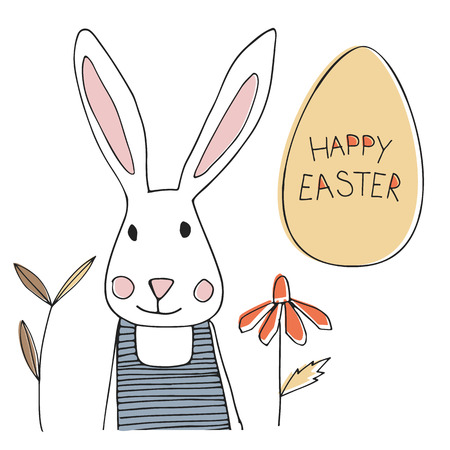 easter flowers: Easter bunny with egg and spring flowers Illustration