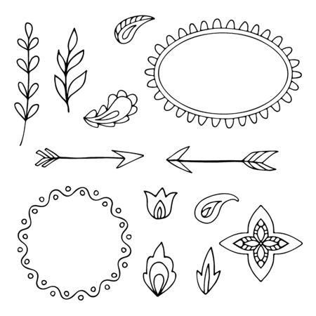sketched arrows: Frames and decorative elements