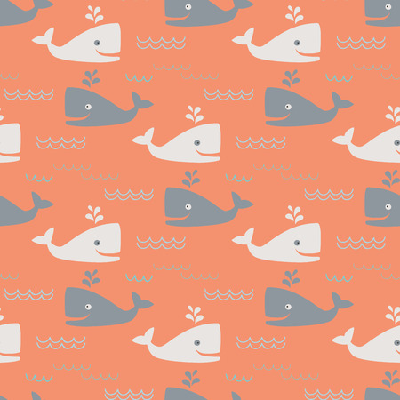 simple fish: Whales and waves - seamless pattern