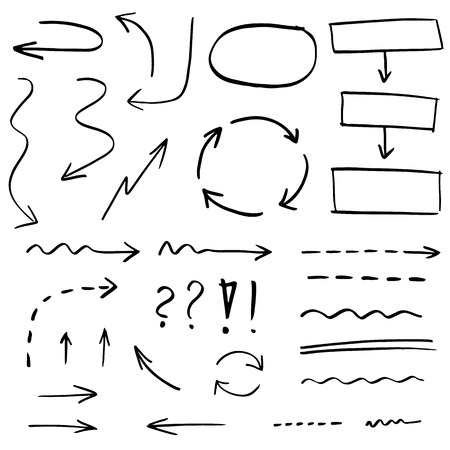 marker: Colección de dibujado a mano flechas, líneas y formas