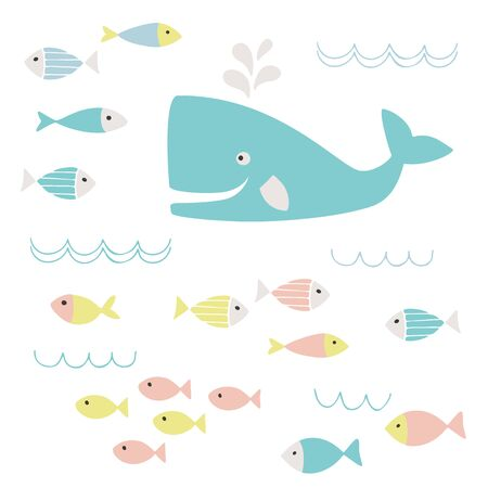 fish clipart: Cute whale and fish clipart