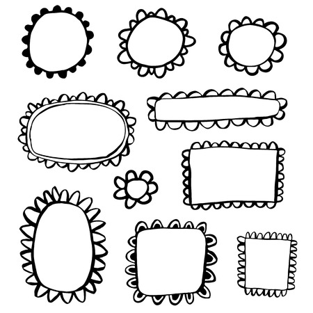 scalloped: Scribbled hand drawn scalloped frames Illustration