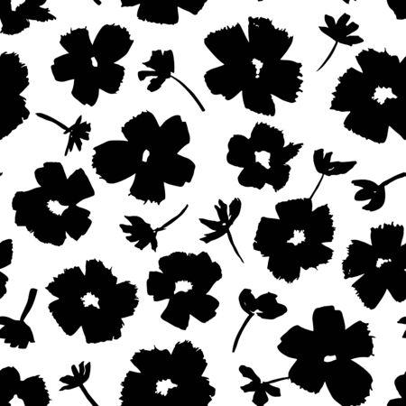 seamless patterns: Hand drawn flowers - seamless pattern