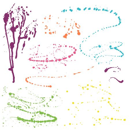 splotches: Colorful splatters - design elements on white background Illustration