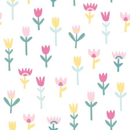 seamless pattern: Cute flowers seamless pattern Illustration